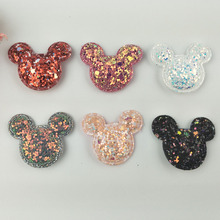 sew on Glitter felt patches for clothes 3.7x3cm Cat head padded applique 20pcs scrapbooking accessories