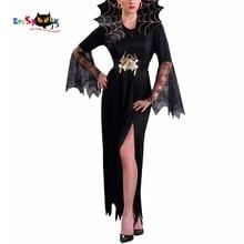 ผู้หญิงเครื่องแต่งกายแวมไพร์สาวชุดแม่มดผู้ใหญ่ Gothic Dark Queen คอสเพลย์ Cobweb Spider ชุดแฟนซีสำหรับ Carnival ฮาโลวีนเครื่องแต่งกาย