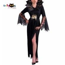 Vrouwen Vampire Kostuum Meisje Heks Jurk Volwassen Gothic Dark Queen Cosplay Spinneweb Spider Fancy Dress voor Carnaval Halloween Kostuum