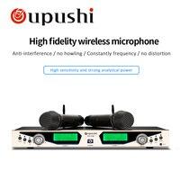Oupushi nuevo HU338 condensador Microfone doble canal UHF Karaoke MICRÓFONO INALÁMBRICO|micrófonos| |  -