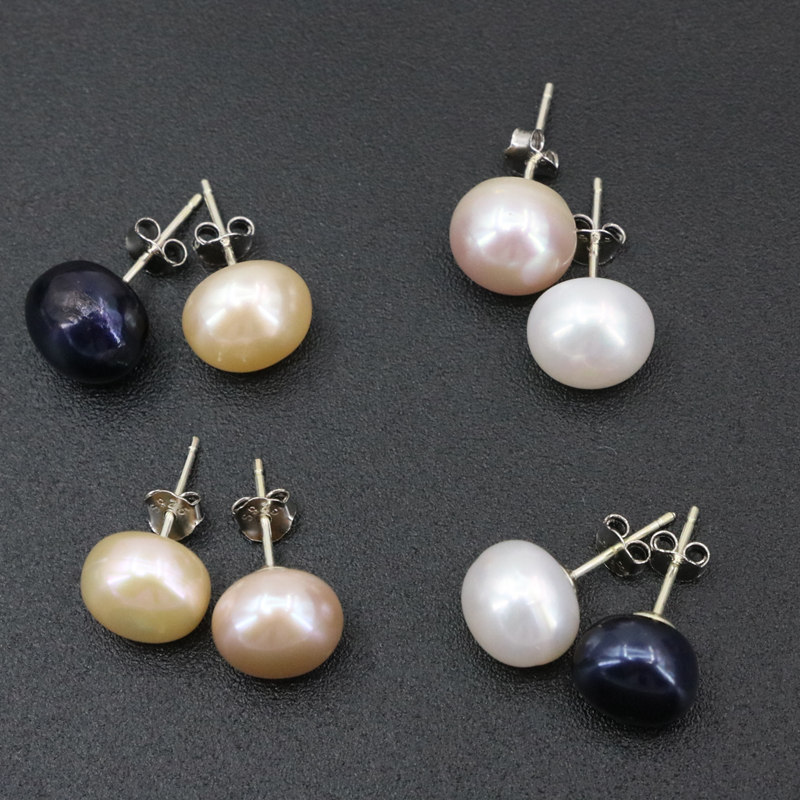 New 925 Sterling Silver Stud Earring Trendy Jewelry 10mm 4 Colors Natural Freshwater Pearl Studs Earrings For Women Gifts B3434