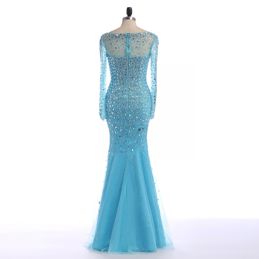 Light Sky Blue Country Prom Dress Long Sleeve Crystal Beaded ...
