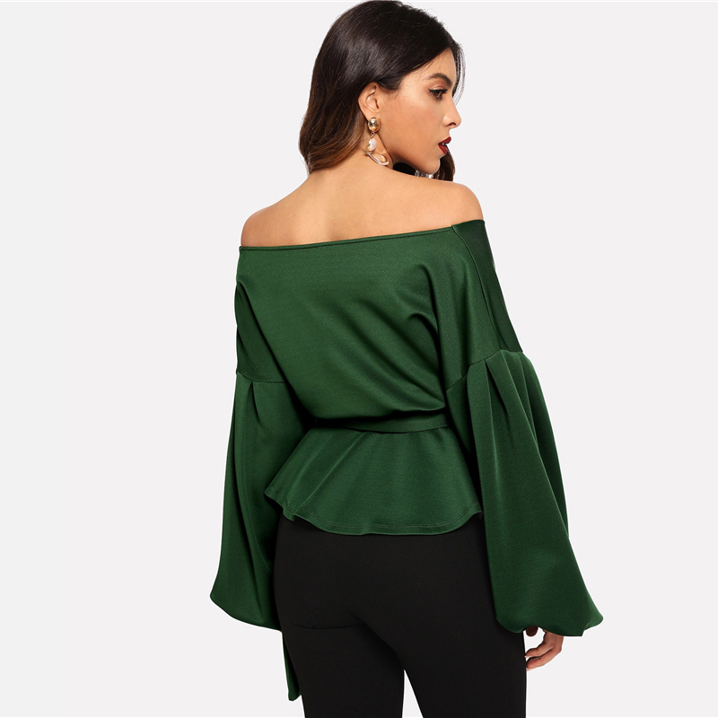 SHEIN White Office Lady Elegant Lantern Sleeve Surplice Peplum Off the Shoulder Solid Blouse Autumn Sexy Women Tops And Blouses 21