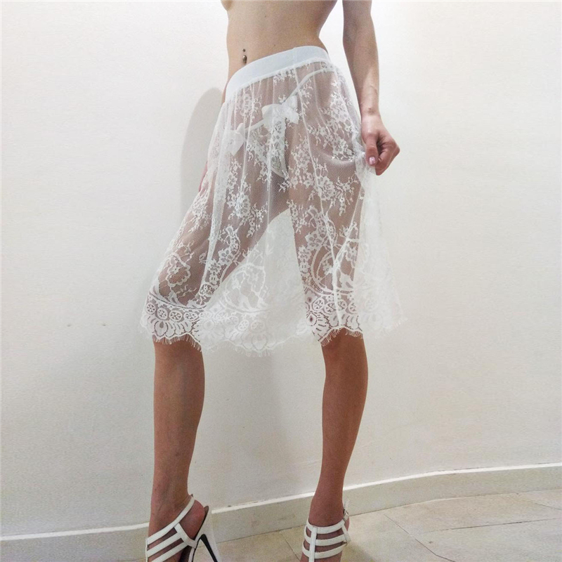 Women Sexy Lace Mesh Skirt Korean Ladies Summer Casual Beach Night Club High Waist Elastic Transparent Tassel Short Skirt 6