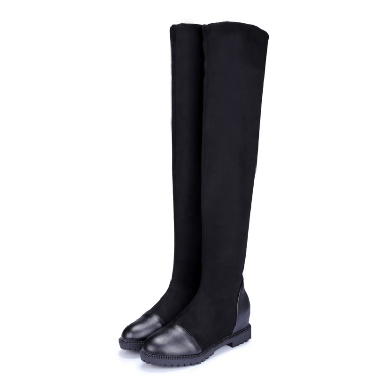2017 Botas Mujer Big Size 34-43brand Design Patch Color Over The Knee Boots Thick Sole Platform Slim Long Winter Autumn X61-5