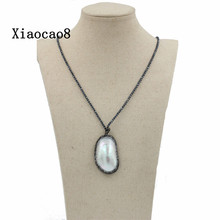 Women Ore Chain Necklaces & Nature Pearl Pendants, High Quality Necklace for Women, Chirstmas Gift Free shipping Canada(China)