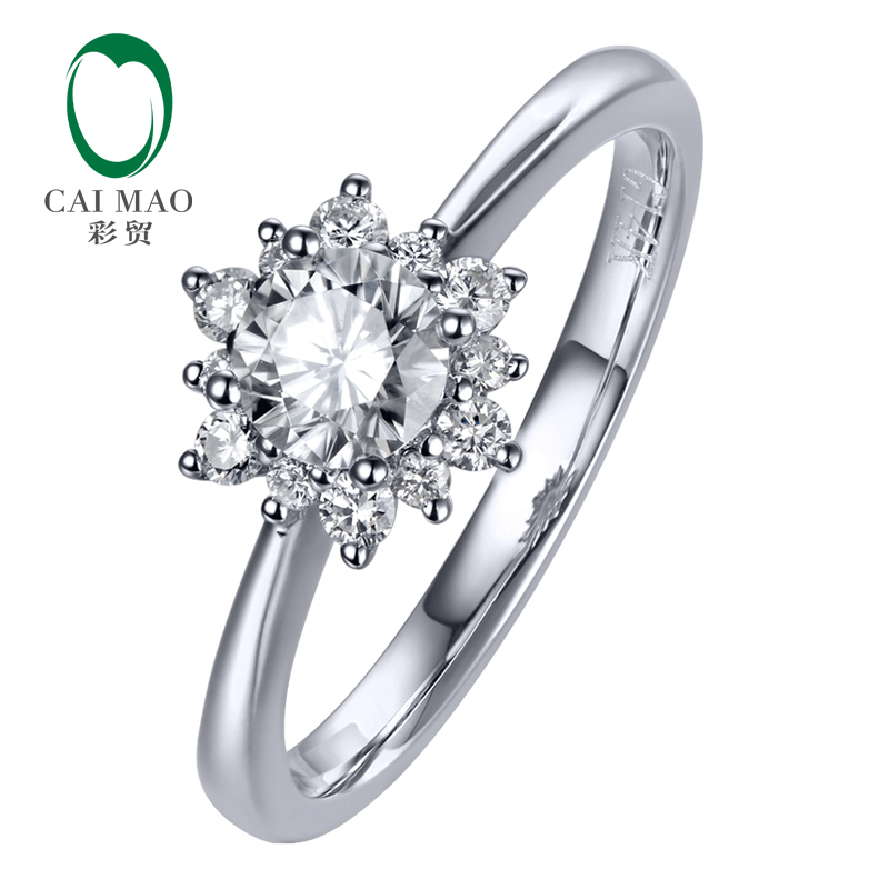 Caimao 0.36ct F Color Moissnaite with 0.18ct Accent Moissanite 14K Gold Engagement Wedding Ring ...