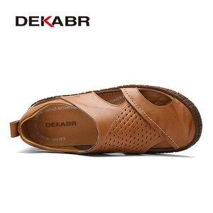 Image 2 - DEKABR scarpe da spiaggia estive di marca 2021 designer di moda sandali da uomo pantofole in pelle crosta per uomo Slip On scarpe Casual uomo