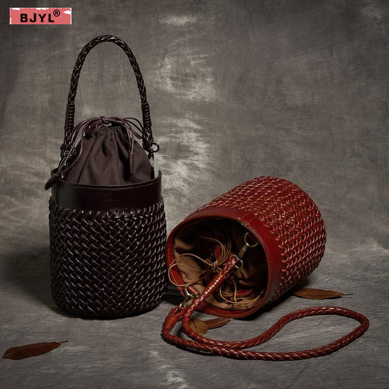 BJYL First layer cowhide hand-woven Women bucket messenger bag fashion female handbags genuine leather retro ladies shoulder bag цена