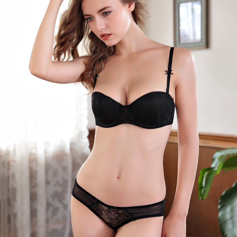 women's lace push up   bra     set   lace panties padding cup underwear   set   Bow deep V   bras   for lingerie 11954