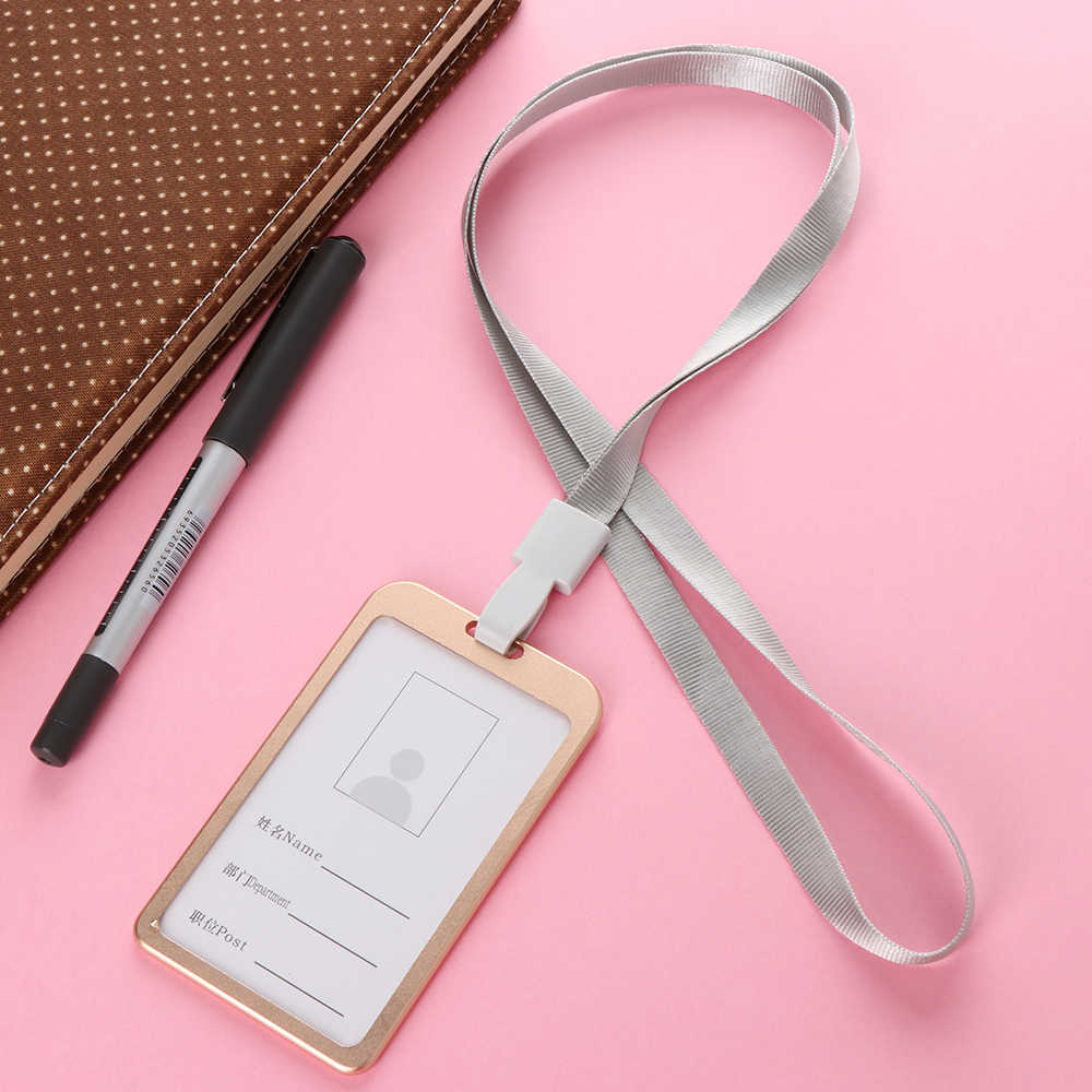 1PC Unisex Aluminum Alloy Business Work Card Holders ID Badge Office School Holder Vertical Metal Card ID Business Case Holders