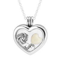 FANDOLA 925 Sterling Silver Jewelry Necklaces for Women DIY Jewelry Heart Locket Pendant Necklace with Infinite Love Petites Set