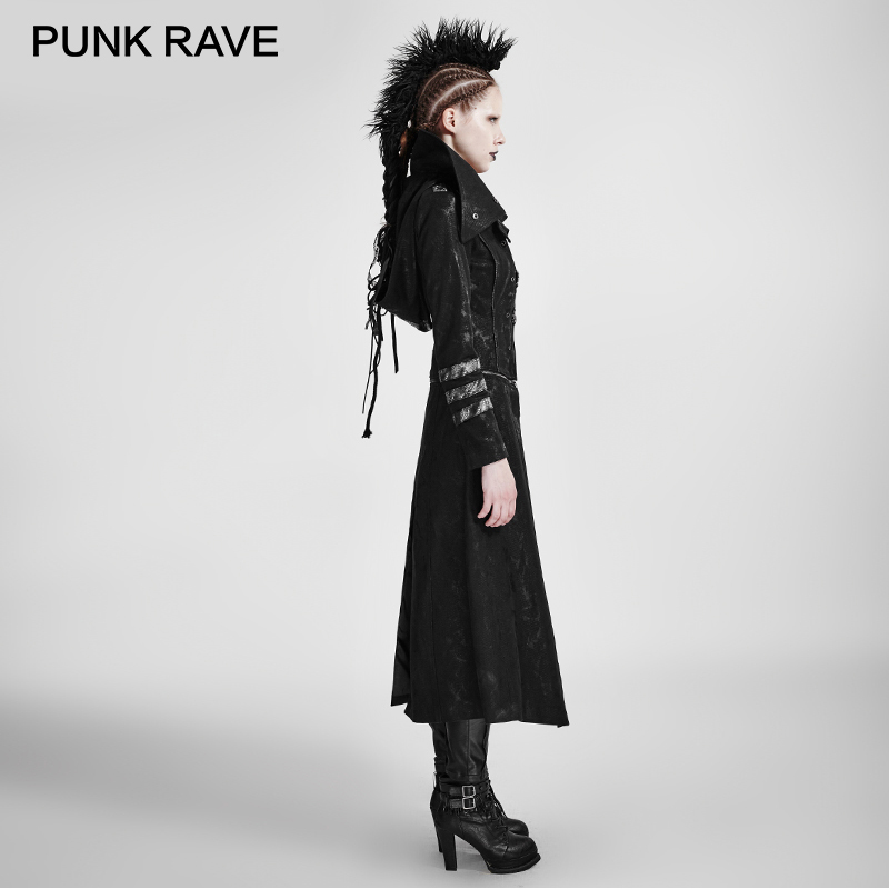 PUNK RAVE Gothic Trench Coat Stretch Twill Fabric Scorpion Leather Removable Hat High Collar army Windbreaker Women Raincoat