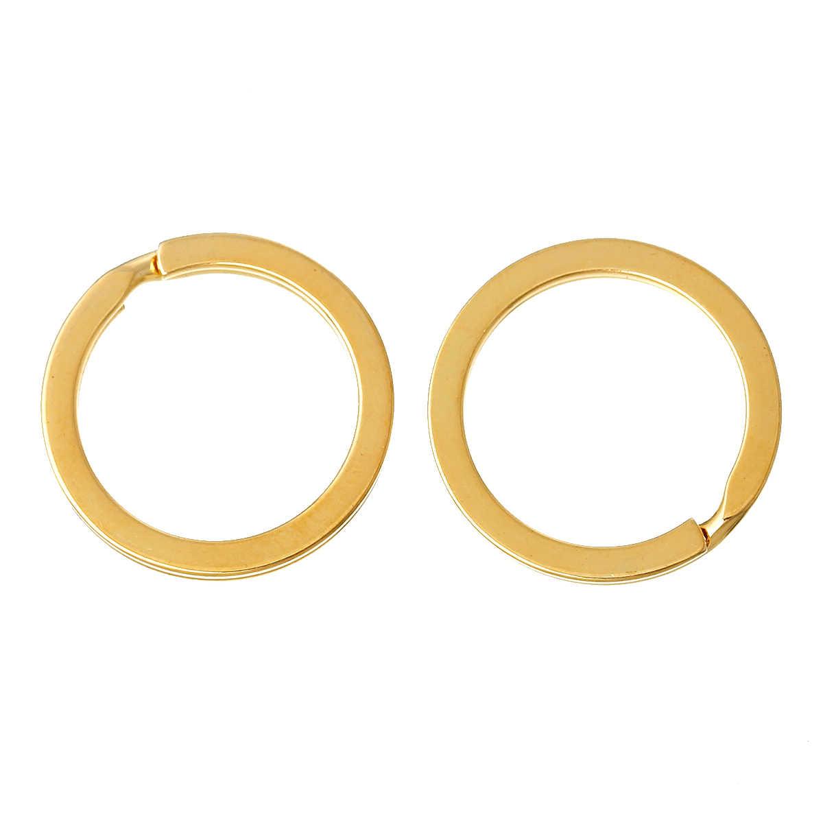 """DoreenBeads Liga Chaveiros Chave Anéis Círculo Anel de Ouro cor 25.0mm (1 """") de Diâmetro, 2 pcs 2015 novo"""