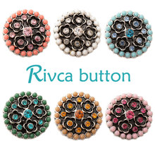 D02401 6 Color High Quality Charm Rhinestone Styles Alloy Ginger Snap Button Bracelets Woman Rivca Snap Button Jewelry