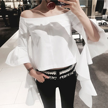 2017 brand women's fashion high-end slash neck flare sleeve  butterfly  shirts  blouses