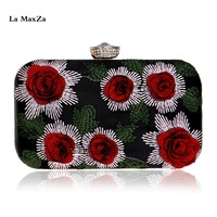 La MaxZa Beautiful Flower Party Shiny Customized Ladies Wholesale Glitter Clutch Bag Evening Luxury Designer Handle Clutch Bag