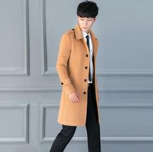 Casual woolen coat men trench coats long sleeves Single-breasted business overcoat mens cashmere coat casaco masculino england single breasted woolen coat men trench coats long sleeves overcoat mens cashmere coat casaco masculino england autumn winter