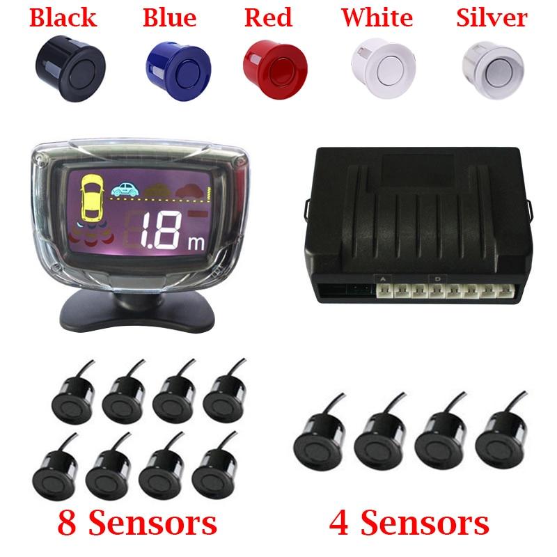 Auto Parktronic 4 Car Parking Sensor 8 Radar Detector Reverse Backup rear Monitor System LED Display parking Assistance 22mm цена