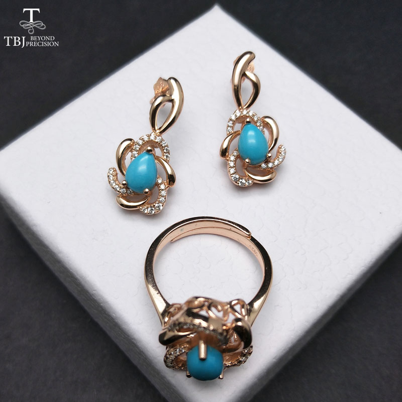 TBJ,Elegant jewelry set with natural sleep beauty turquoise jewelry set earring and ring in 925 sterling silver fine jewelry faux turquoise cow engraved jewelry set