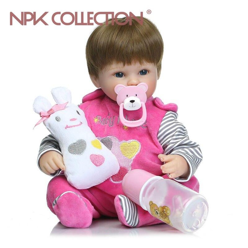 NPKCOLLECTION 40 см мягкие силиконовые винил возрождается девочка куклы bebes reborn bonecas мягкие Детский наряд для дня Рождения подарок девочек brinquedos