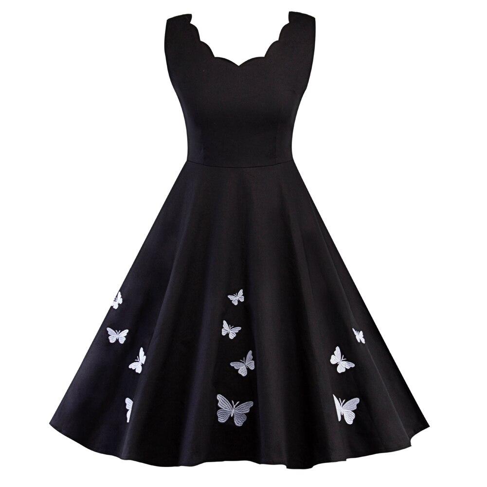 女性蝶ロカビリースイングヴィンテージドレスノースリーブプリーツ A ラインのイブニングパーティードレス FS99