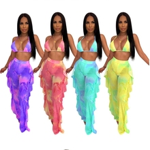 Tie Dye Printed Two Piece Set Halter Crop Top Ribbons Lace Up Ruffles Backless Beach Style Mesh Outfits Strapless Tube Long Pant недорого