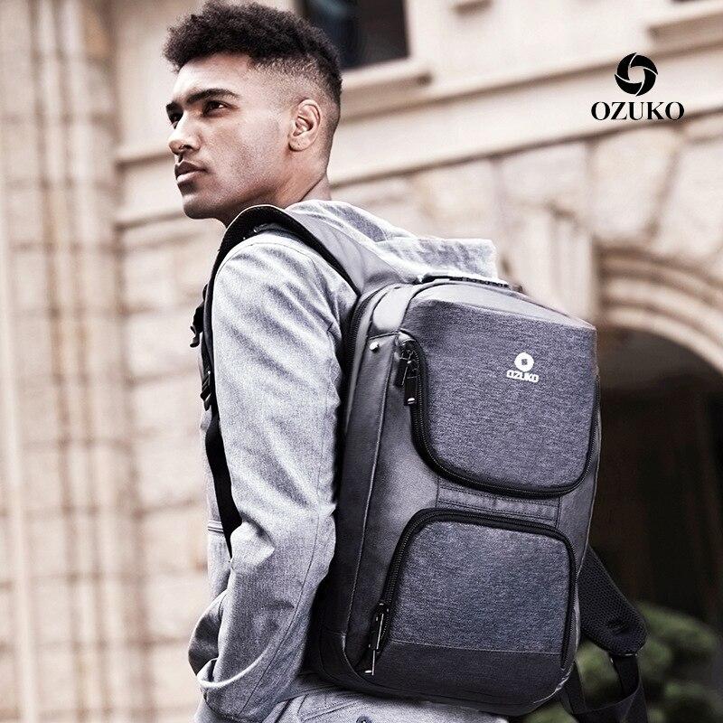OZUKO nouveau 15.6 pouces sac à dos pour ordinateur portable hommes USB Charge sac à dos pour adolescent sac d'école étanche sac à dos voyage décontracté mâle Mochila