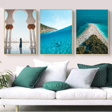 Nordic Poster Landscape Decorative Painting Sea Ocean Beach Diving Wall Art Canvas Painting Wall Picture for Living Room Decor modern decor wall artwork natural landscape picture 1 piece sea coast tropical paradise beach ocean island boat canvas poster
