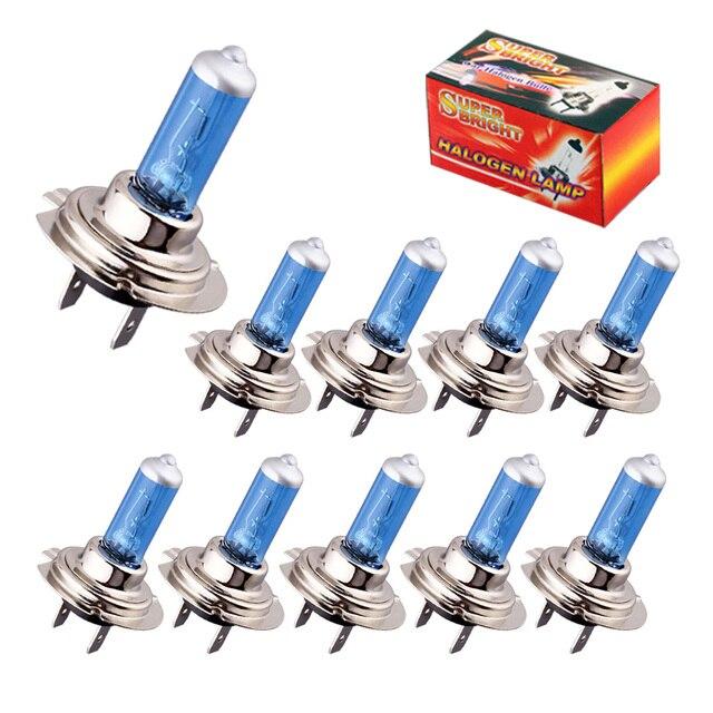 10pcs Halogen Bulbs Super Bright H1 H3 H7 H4 H11 HB3 HB4 HB5 9004 9005 9005 9007 White Fog Light 100W 55W Car Head Lamp 12V