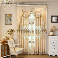 The New Color Mosaic Hollow Chenille Embroidery Curtains for Living Dining Room Bedroom