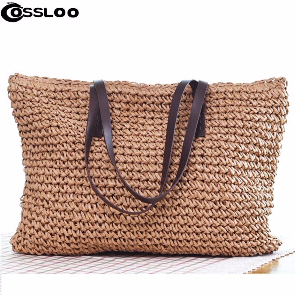 COSSLOO Summer Style Beach Bag Women Straw Tassel Shoulder Bag Brand Designer Handbags High Quality Ladies Casual Travel Bags chispaulo women genuine leather handbags cowhide patent famous brands designer handbags high quality tote bag bolsa tassel c165