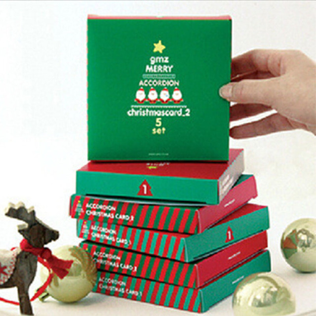 merry christmas 3d handmade greeting card red green christmas gift souvenir postcard folded christmas card holiday - Folded Christmas Cards
