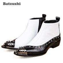 Batzuzhi Западная рок черный белый цвет; Мужские ботинки в итальянском