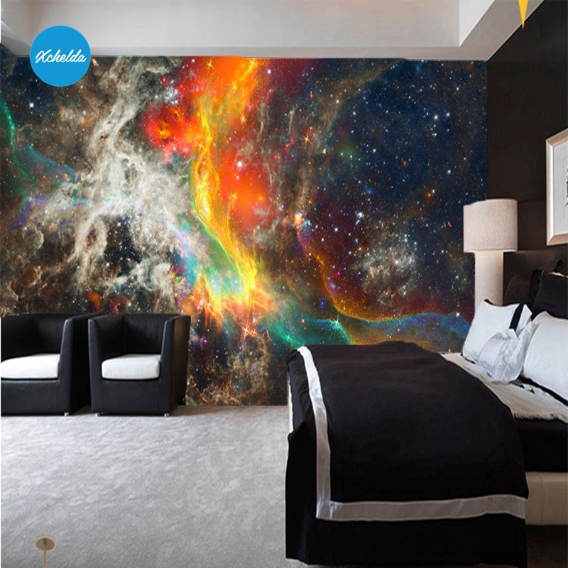 XCHELDA Custom 3D Wallpaper Design Galaxy Photo Photo Kitchen Bedroom Living Room Wall Murals Papel De Parede Para Quarto kalameng custom 3d wallpaper design street flower photo kitchen bedroom living room wall murals papel de parede para quarto