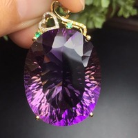 Fine Jewelry G18K Real 18K Gold Jewelries Rose Gold 100% Natural Ametrine Gemstone Stone Pendants Real Gold Pendant Necklace