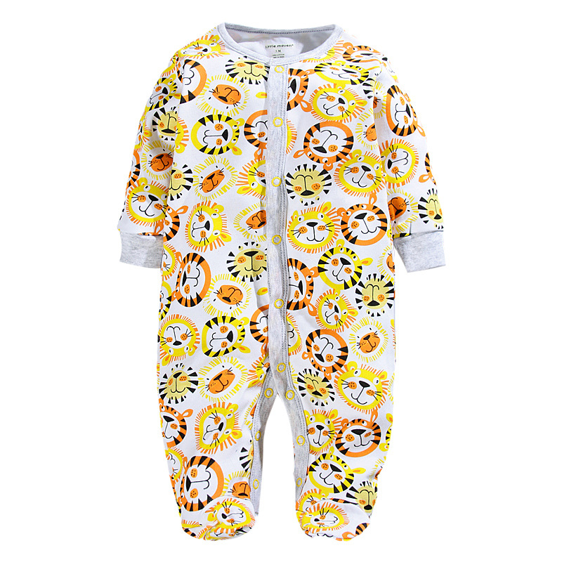 Lion Print Baby Rompers With Foot Newborn Clothes Footcover One-Piece Clothes Overalls Pajamas Romper Cotton Jumpsuit Sleepwear