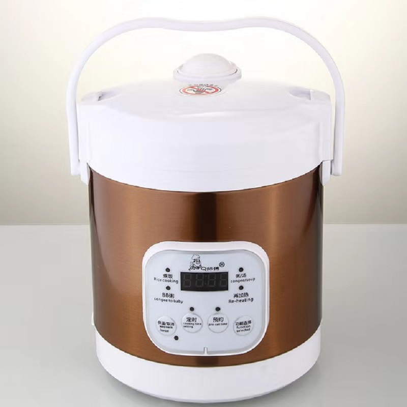 English-1.2L Mini Rice Cooker Soup Porridge Cooking Machine Food Steamer Electric Heating Lunch Box Meal Heater Warmer EU Plug