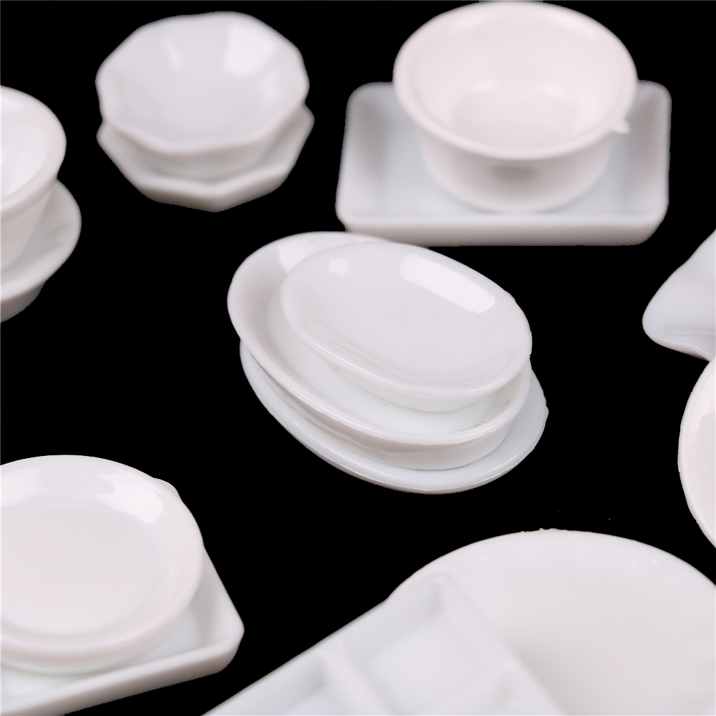 33pcs 1//12 Dollhouse Tableware Bowl Dish Tray Plate for Kitchen //End Table