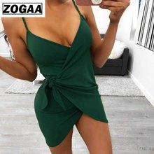 купить Fashion Green Sexy Bodycon Club Dress Plus Size Spaghetti Strap Dresses Bow Sleeveless Knee-Length Deep V-collar Dress for Women по цене 496.95 рублей