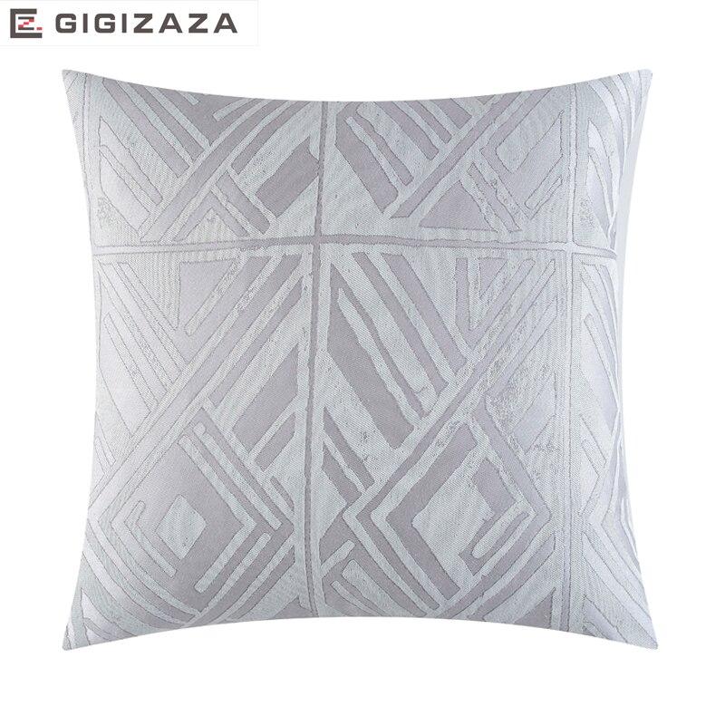 Argent Gris géométrique jacquard tissu En Gros Oreiller coussin coussin Décoratif À La Maison pour canapé jaune blanc 45*45 cm
