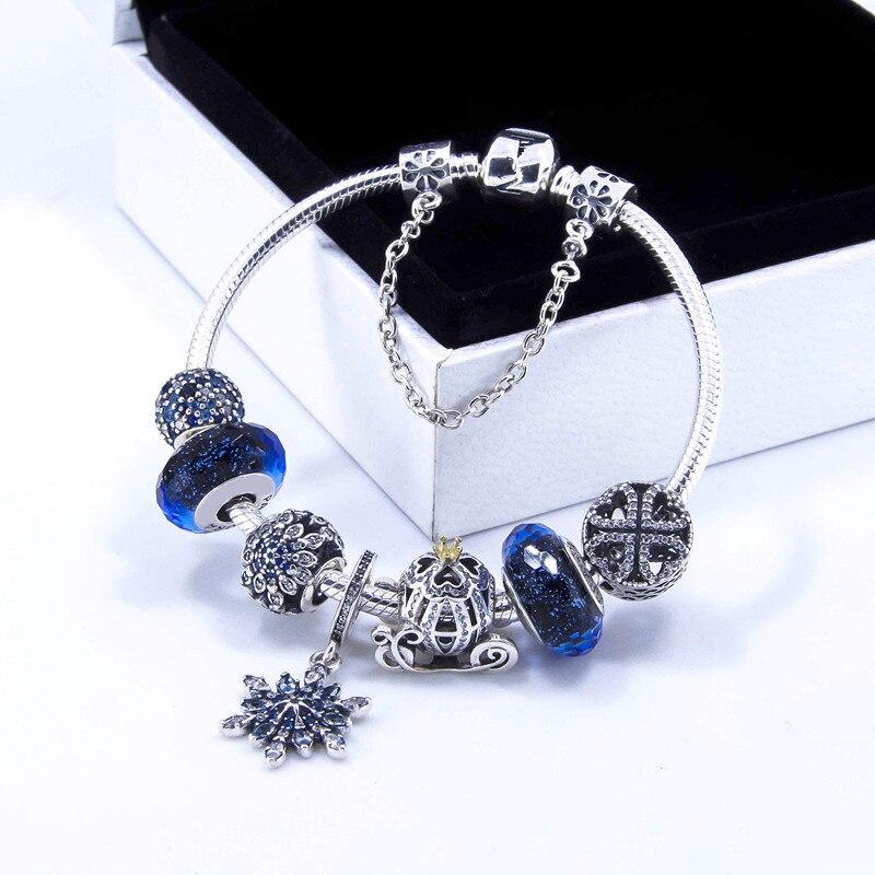 925 argent Sterling cristallisé flocon de neige fermoir serpent chaîne de base Pan Bracelets bracelet Fit femmes perle charme bijoux à bricoler soi-même