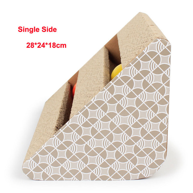 Single-sided double-slot with bells fun Cat Toys With Bell Ball Corrugated Cardboard Cat Scratcher Board Toys