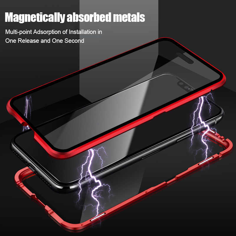 ZNP Magnetic Adsorption Metal Phone Case For iPhone 6 6s 8 7 Plus X Double Sided Glass Magnet Cover For iPhone X XS MAX XR Cases