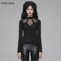 PUNK RAVE Women Gothic Black Hollow Out Mesh T shirt Sexy Fashion Club Party Tops Gothic Daily Long Sleeve T shirt