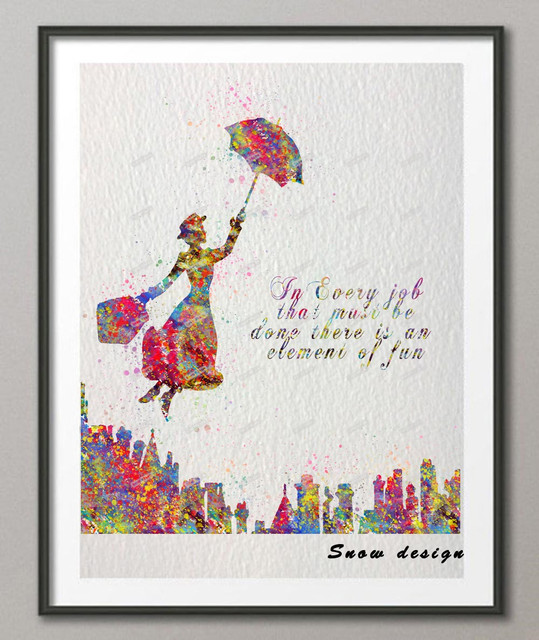 DIY Original Watercolor Mary Poppins Quote Wall Art Canvas Painting Poster  Print Pictures Kids Room Home