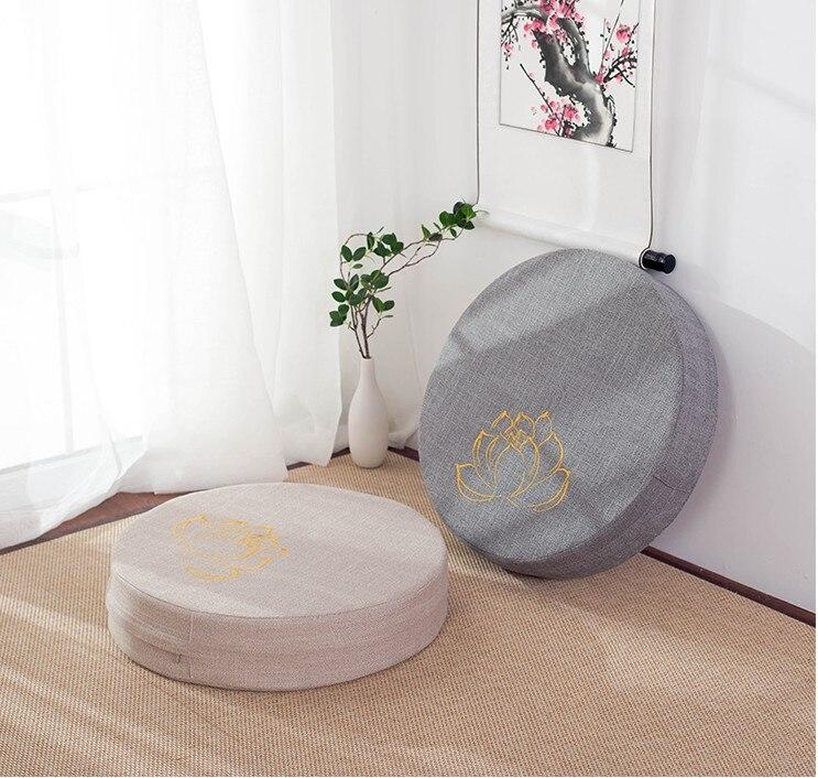 HTB14GhNe8WD3KVjSZKPq6yp7FXa5 Japanese-style futon worship Buddha sitting cushion fabric washable round linen balcony window tatami mat meditation lotus