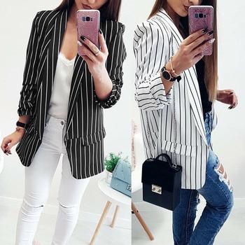 Long Sleeve Striped Stylish Duster Jacket Coat
