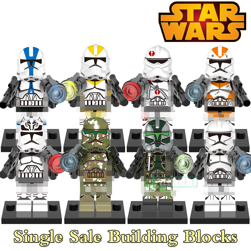 Building Blocks White Clone Yellow Utapau Trooper Soldiers Super Hero Star Wars Bricks Dolls Kids DIY Toys Hobbies Figure X0162 building blocks agent uma thurman peeta dc marvel super hero star wars action bricks dolls kids diy toys hobbies kl069 figures