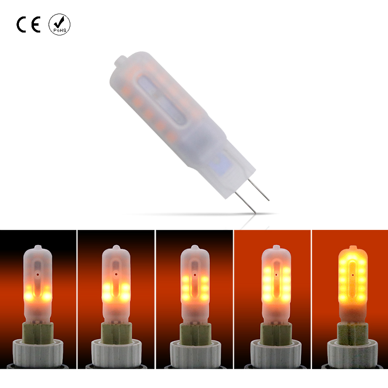 LED Flame Lamp 24leds Chandelier Bulb G9 Lampadas Led Flame Effect Lamp DC 12V Low Voltage G4 One Mode Flickering Fire Lights 3W